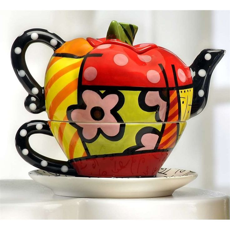 Romero Britto Collectible APPLE Teapot