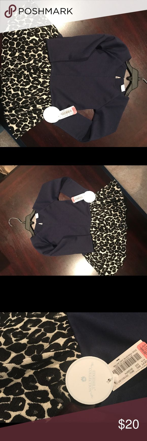 NWT Navy dress w  black & cream leopard print The top of the dress is solid navy blue & the bottom of the dress is black & white leopard print. Super cute for any dressy occasion. Edgehill Collection Dresses Formal