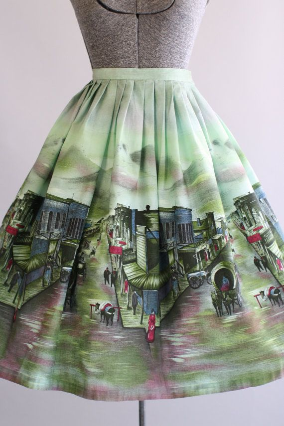 Vintage 1950s Skirt / 50s Cotton Skirt / by TuesdayRoseVintage