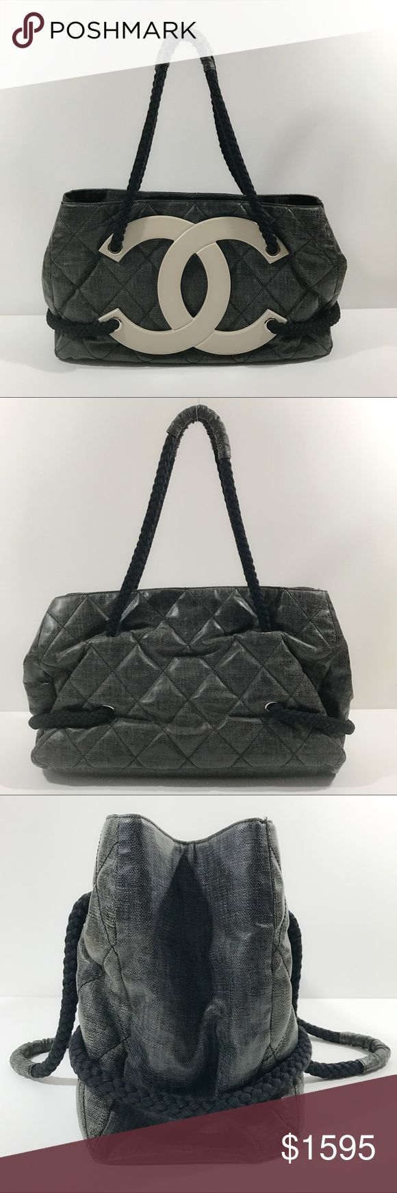 Authentic Chanel Coated Canvas Large CC Beach Tote In very good condition. Some creasing to coated canvas exterior, some slouching of shape. Inside is pristine. Comes with detachable interior compartment and dust bag. Very big and perfect as daily bag or beach bag. It easily carries a large beach towel and other essentials. NO TRADE CHANEL Bags Totes
