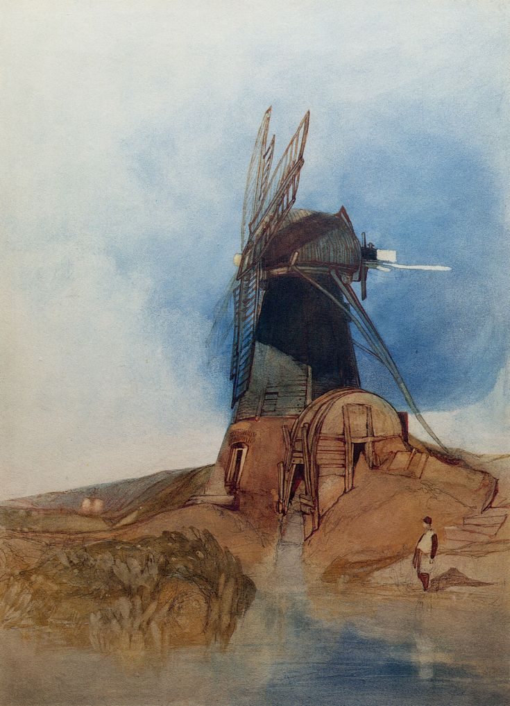 John Sell Cotman - A Windmill 1828 | Pen, pencil, brown ink and watercolour | 527 x 381mm