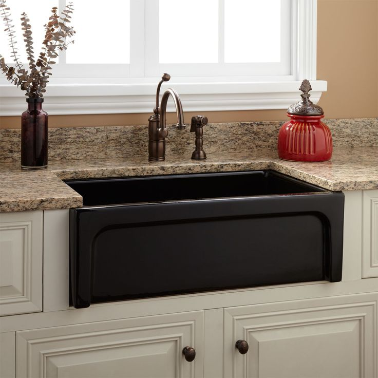 30 Risinger Fireclay Farmhouse Sink Casement Apron Black Kitchen
