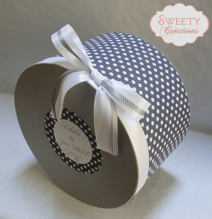 Urne en tissu à pois gris Wedding card box in polka dots fabric