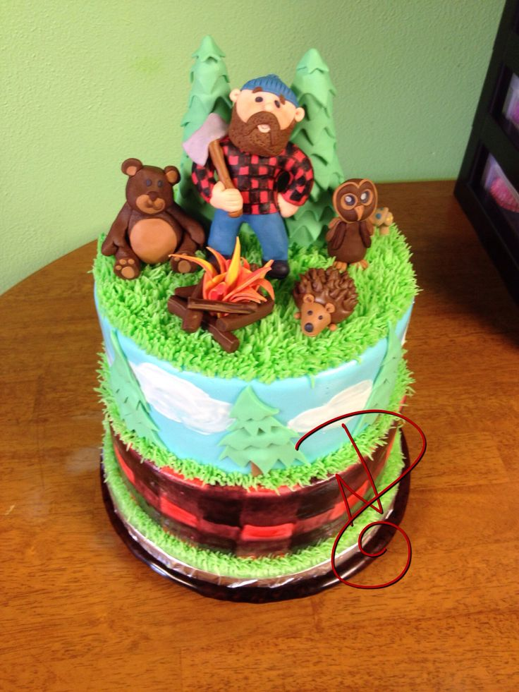 Lumberjack Birthday Cake Forest Themed Or Logger Baby