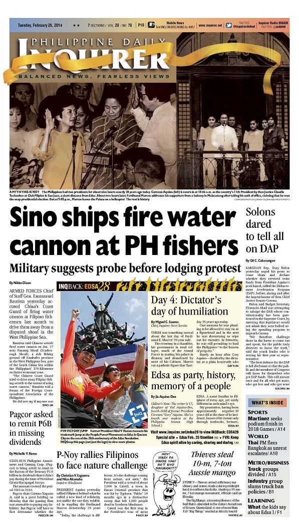 """""""Sino ships fire water cannon at PH fishers,"""" today's"""