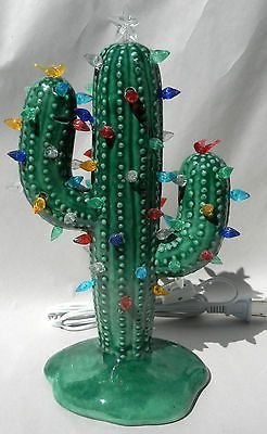 Medium Christmas Cactus Glossy Green Lighted Ceramic
