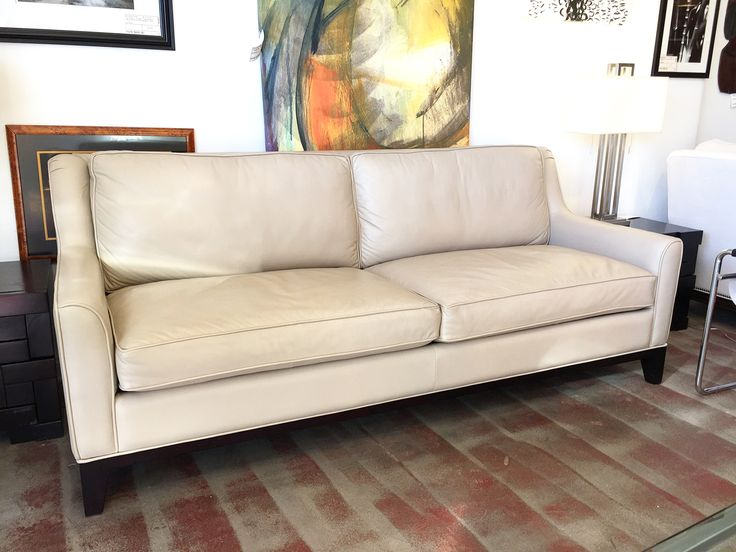 Italian Cream Leather Sofa | Chairish