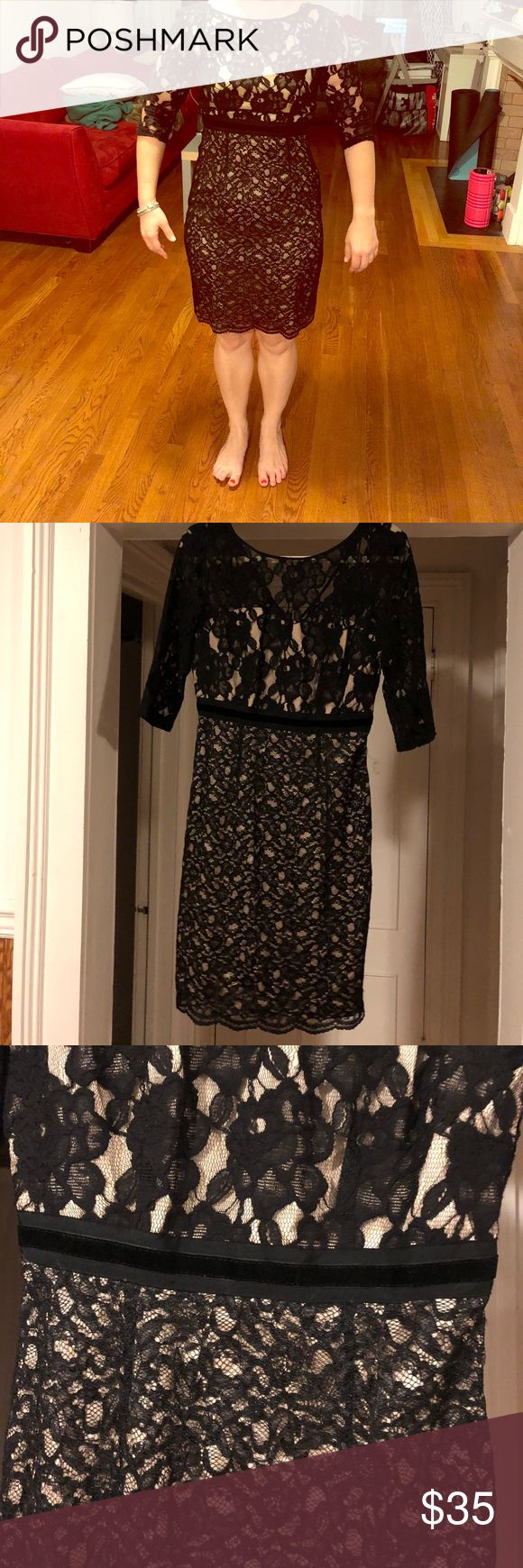 Jax black lace dress size 6 evening cocktail 3/4 sleeve black lace Jax dress! Great condition! Perfect for evening out, wedding or any holiday party occasion  True to Size 6  Little black dress, lace, evening dress, cocktail dress,black tie optional, sheath dress Jax Dresses Long Sleeve