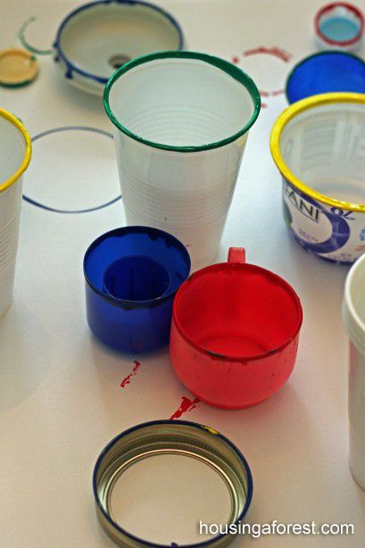 Olympic Rings painting ~ simple process art using household objects