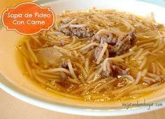 Prepara una rica sopa agüada para tus niños con esta Receta, Sopa de Fideo con Carne Molida les va a encantar!