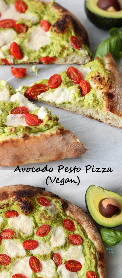 Pizza de Pesto de Aguacate (Vegano)