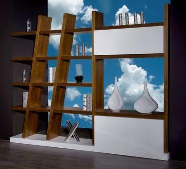 Casa Ampia-Unit Wrong- έπιπλο tv - καθιστικό-διακόσμηση σαλονιού-ξύλο Καρυδιά-διαχωριστικό-βιβλιοθήκη