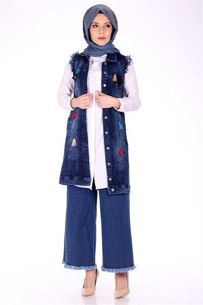 Püsküllü Bol Paça Pantolon 5015 - Koyu Mavi Pantolon Modelleri - Kirazgiyim