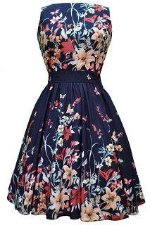 The *NEW* NAVY Floral Border Tea Dress