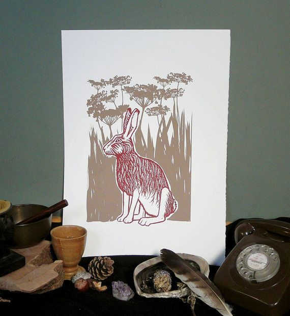 Large burgundy & buff hare screen print  only 4 by ChargedByFire