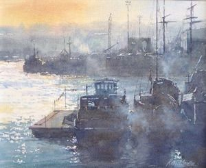 Winter Light, Whitby Harbour   24 x 20 cms  Watercolour   Available as a limited edition print.