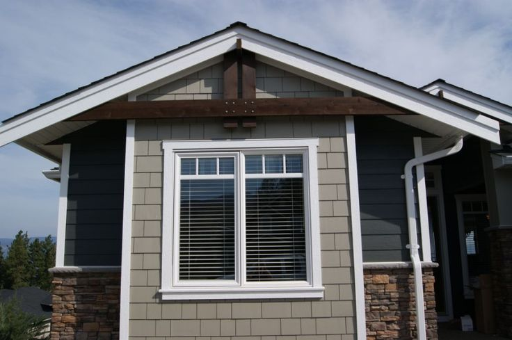 Iron Gray Hardie Plank Wooden Beams Stone And Shakes