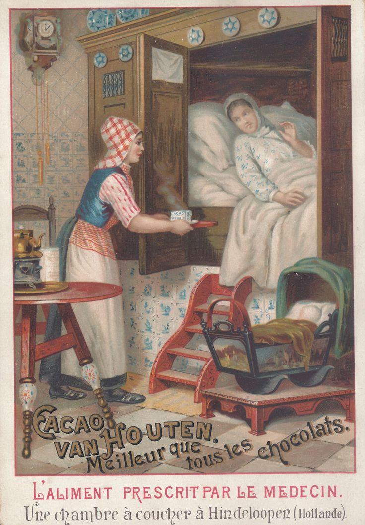 Una camera da letto a Hindeloopen (Olanda), ca. 1889; pubblicità cacao Van Houten, Weesp; dalla serie di 8 figurine 'Scene olandesi'