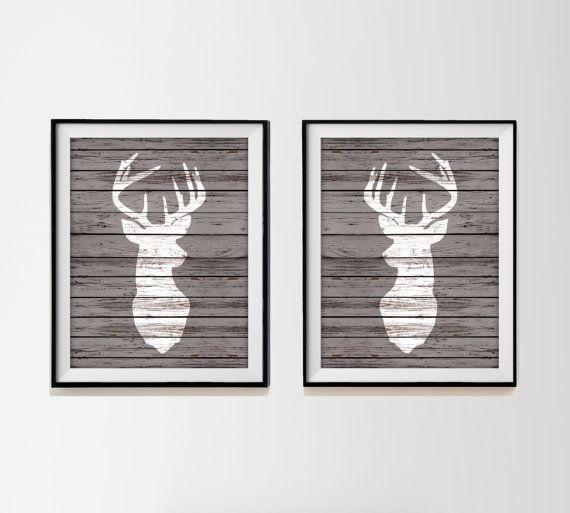 Wood Deer Head Silhouettes - Set of Two Art Prints - Rustic Faux Wood Deer Prints - Hunting Buck Nursery Decor - Rustic Nursery - Woodland on Etsy, $15.00