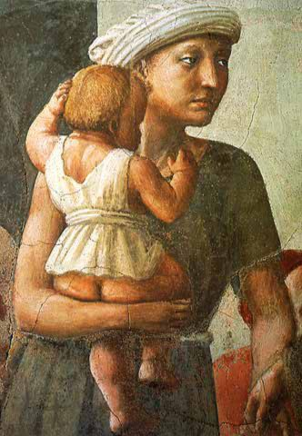 """Detail from Masaccio's  """"The Distribution of the Goods of the Community and the Death of Ananias"""""""