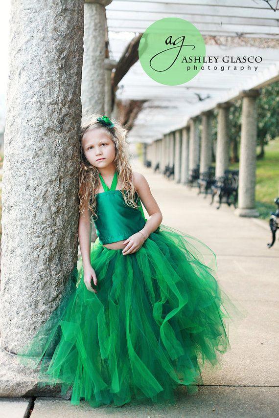 Hunter Green Flower Girl Fabric Half Slip for by sweethearttutus