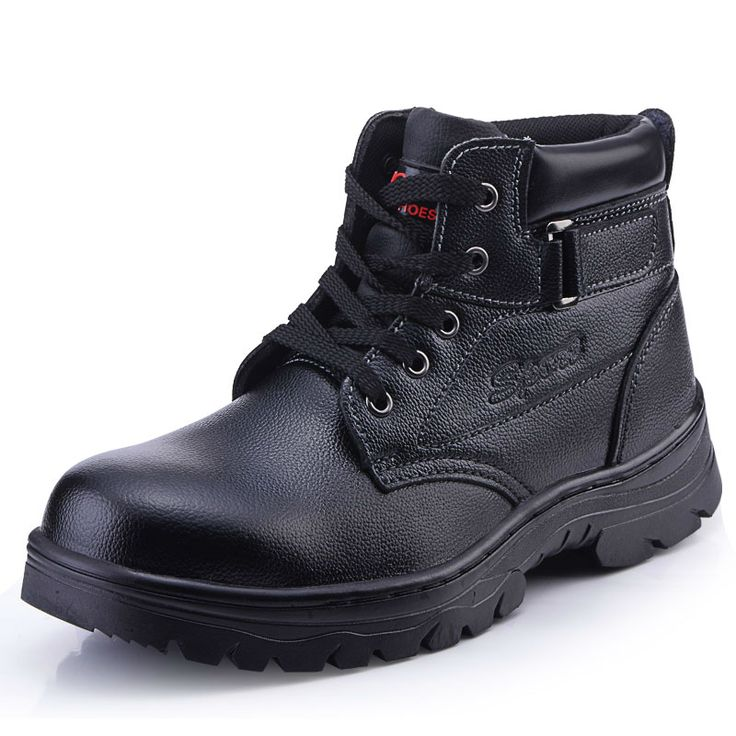large size men casual black steel toe cap work safety shoes cow leather tooling ankle boots spring autumn protect zapatos hombre