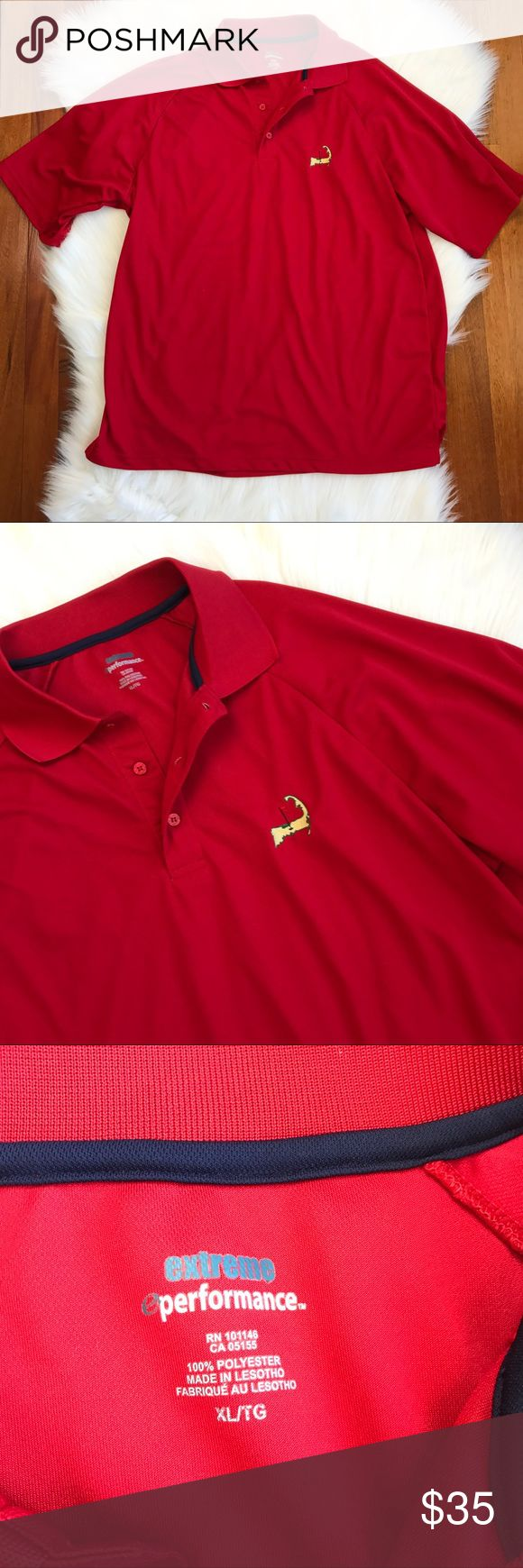 {Masters Golf} Men's Red Polo Shirt Excellent pre worn condition. Masters symbol on chest. All sales final. Extreme Performance Shirts Polos
