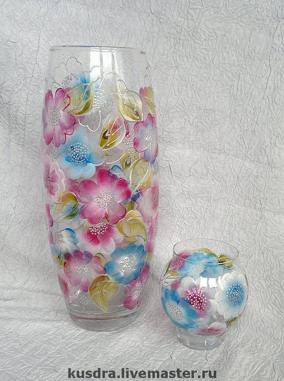 """Купить Ваза и подсвечник """"Пастельные цветы"""" - ваза, цветы, пастельные тона, розовый, краски, ваза"""
