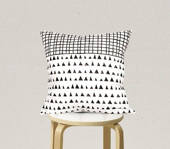Decorative Pillow cover, Geometric Pillowcase, Kids Pillows Case, Black and White Pillow Case C2