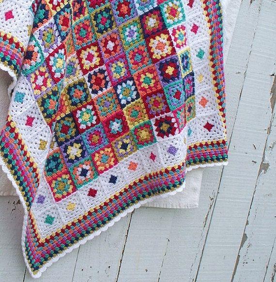 Crochet Baby Blanket Handmade Afghan Bright Colors Granny Square