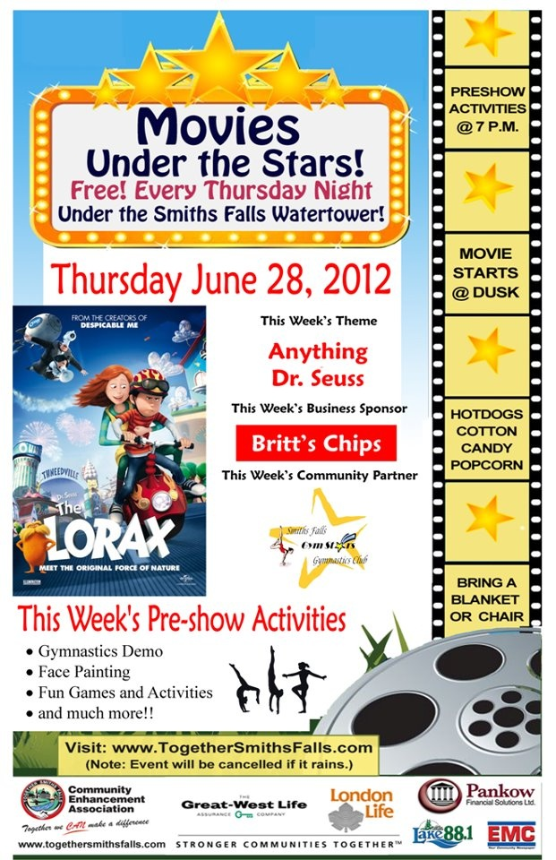 """Movies Under the Stars in Smiths Falls, Ontario presents """"The Lorax"""" on June 28, 2012"""