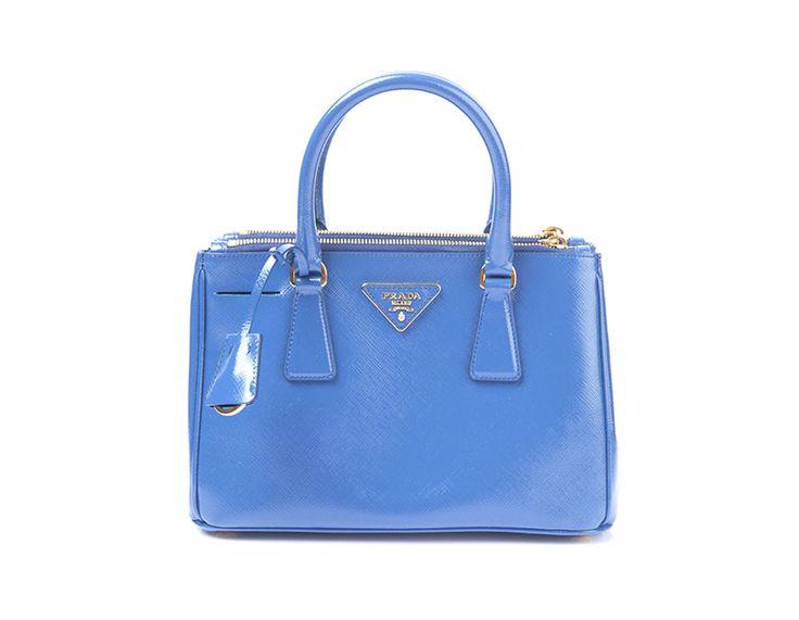 AUTH New PRADA Saffiano Vernice Leather Double-Zip Tote Bag Blue BN 2316 #PRADA #TotesShoppers