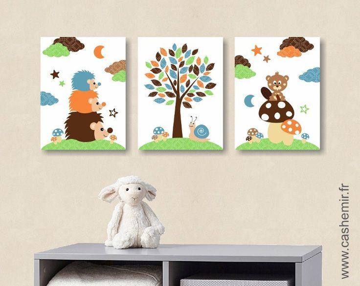 Illustration enfant bébé affiche bébé poster garçon décoration chambre animaux forêt hérisson réf.115 : Décoration pour enfants par cashemir
