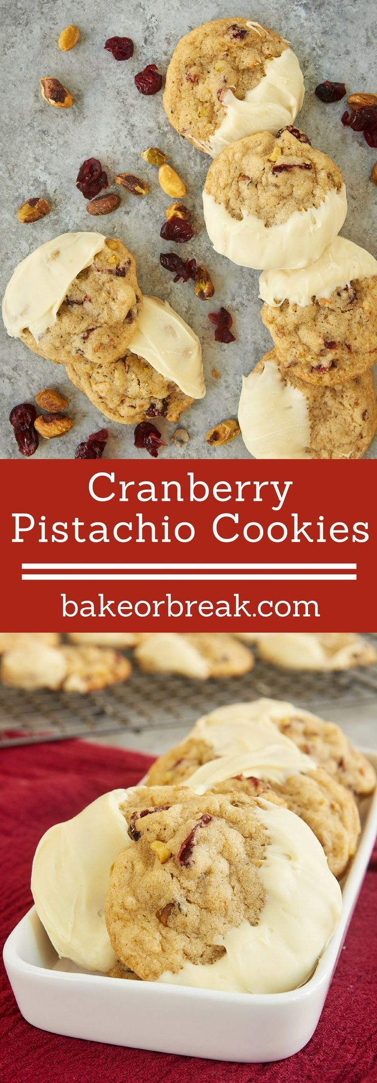 Cranberry Pistachio Cookies are jam-packed with plenty of sweet, tart cranberries and crunchy pistachios. The addition of white chocolate really puts them over the top! - Bake or Break