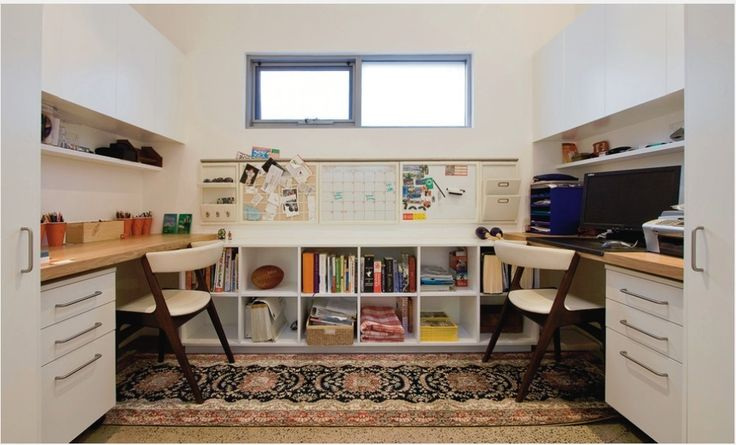 Double office, like the tall skinny end cabinets and the drawer sets under benches. Could use kitchen units for these