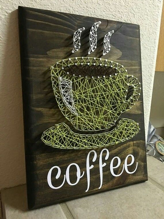 10x12 coffee cup string art. More
