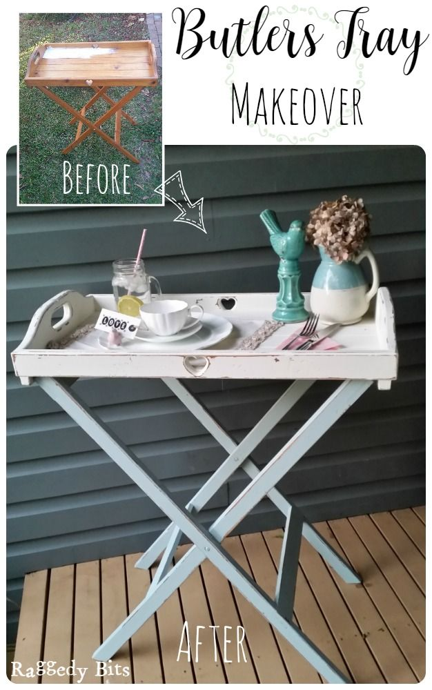 Who doesn't love breakfast in bed? Now you can be served in style with this sweet Farmhouse Butlers Tray Makeover |www.raggedy-bits.com