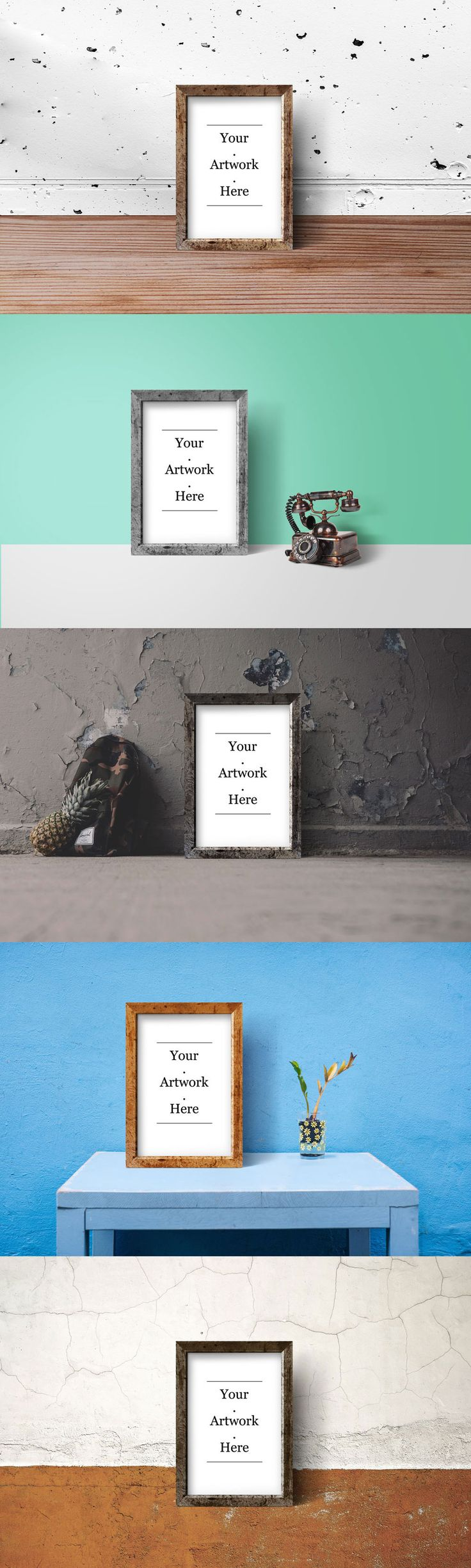 Friends! Enjoy a nice week with this set of 5 Rustic Wood Frame PSD free Mockup templates including 5 separate PSD files with 5 different settings to choose from. It comes with smart object, you can edit and add your own artwork or photos in no time. The colors and backgrounds are very easily changeable, so you can mix the templates to your liking. Enjoy!