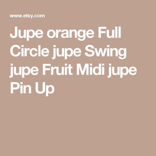 Jupe orange Full Circle jupe Swing jupe Fruit Midi jupe Pin Up