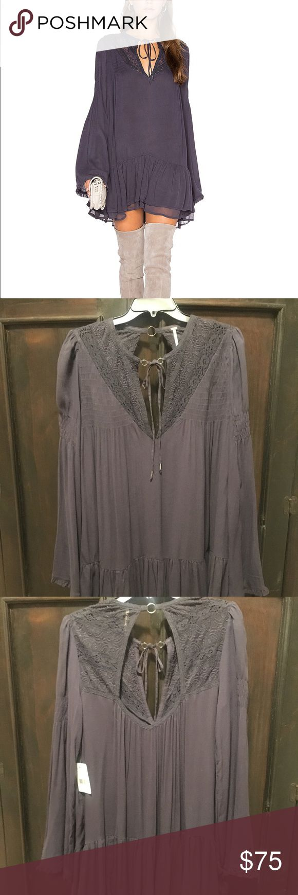 NWT Free People One Night Victorian Tunic/dress NWT Free People One Night Victorian tunic Dress in Smoke size XS $128 retail   Victorian-inspired tunic. Features a semi-sheer fabric with pretty crochet and lace details around the open neckline. Front beaded ties and back cutout with a small grommet detail. Sweet ruffled hem.   This versatile top can also be worn as a super mini dress. For a no-show look layer with one of our seamless shorts for an effortless look.  100% Rayon  Hand Wash Cold…