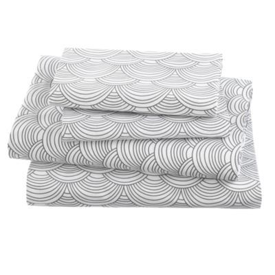 Scalloped Sheet Set - scallop design that can easily be matched to nearly any bedding set.: Kids Beds, Grey Sheet, Sheet Sets, Kids Sheet, Grey Scallops, Beds Sets, Scallops Sheet, Landofnod, Kids Rooms