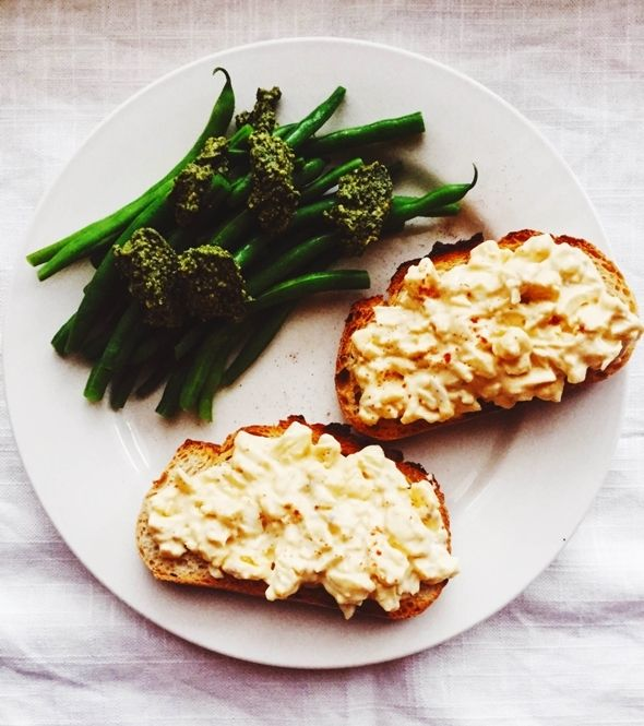 Melissa Clark's Deviled Egg Salad with Anchovies and Paprika on Toast.