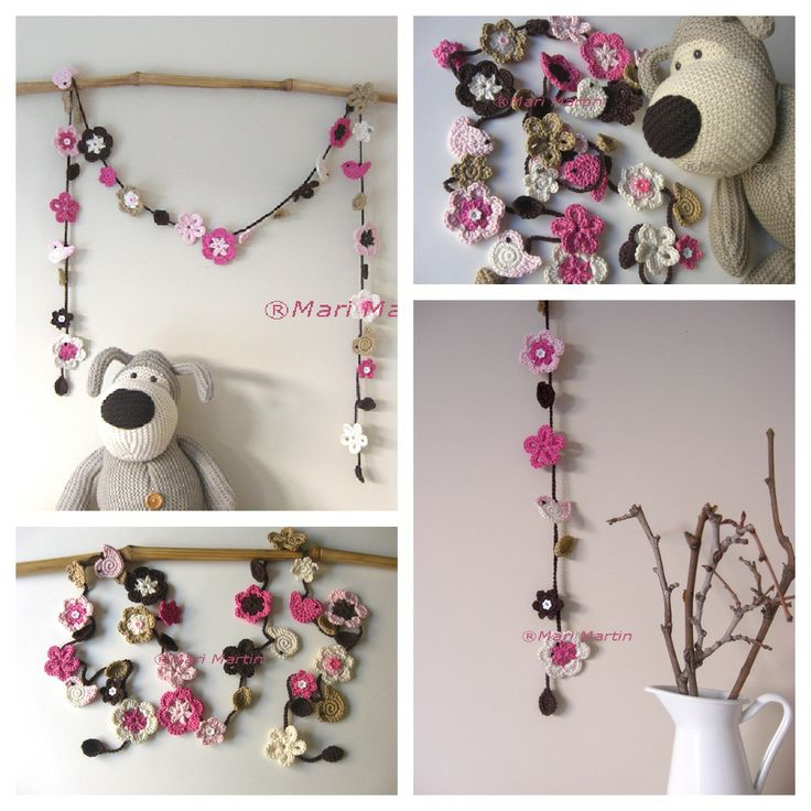 Crochet Hermosa Flor ~ Garland Birds Los artículos de punto más bellas