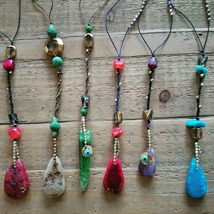 Necklaces, semiprecious stones