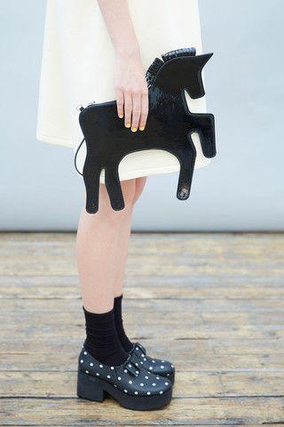 Unicorn Clutch Bag Black Patent