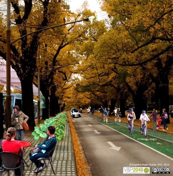 Cycling takes priority in this streetscape of Melbourne 2040. Bicycle lanes are widened to encompass the road and, while cars still exist, they are considered a form of public transport. They are smaller, solar powered and used communally. Food is grown in garden beds to reduce 'food miles' and the tram continues to be an integral part of the city's transport.