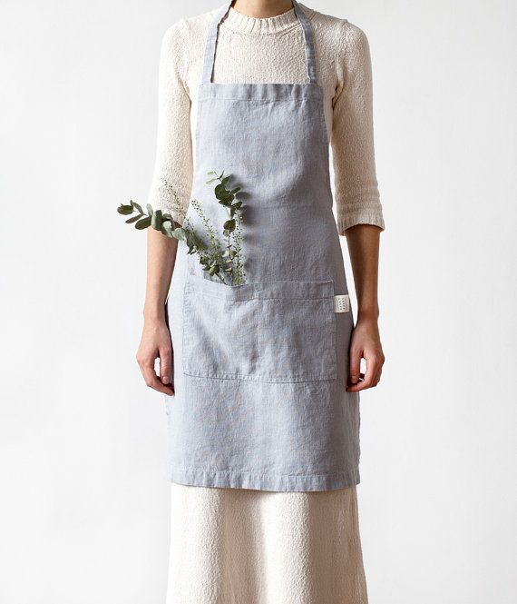Light Grey Stone Washed Linen Apron by LinenTales on Etsy