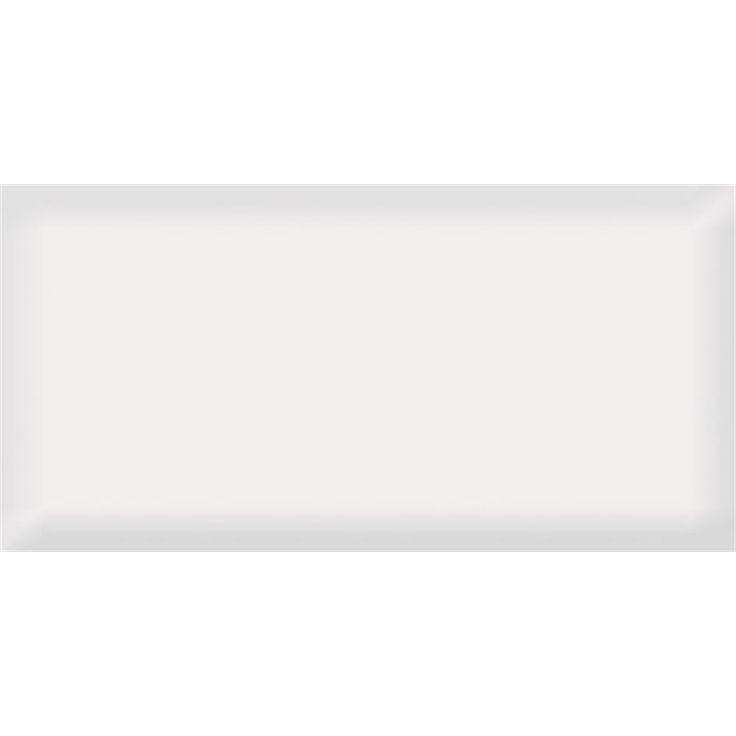 Johnson Tiles 200 x 100mm Ultra White Bevelled Edged Ceramic Wall Tile - 50 Carton