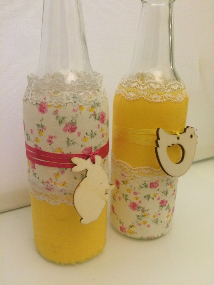 Easter bottles decorated with fabrics #easterbottles #fabricbottles #easterdecoration #almanogr