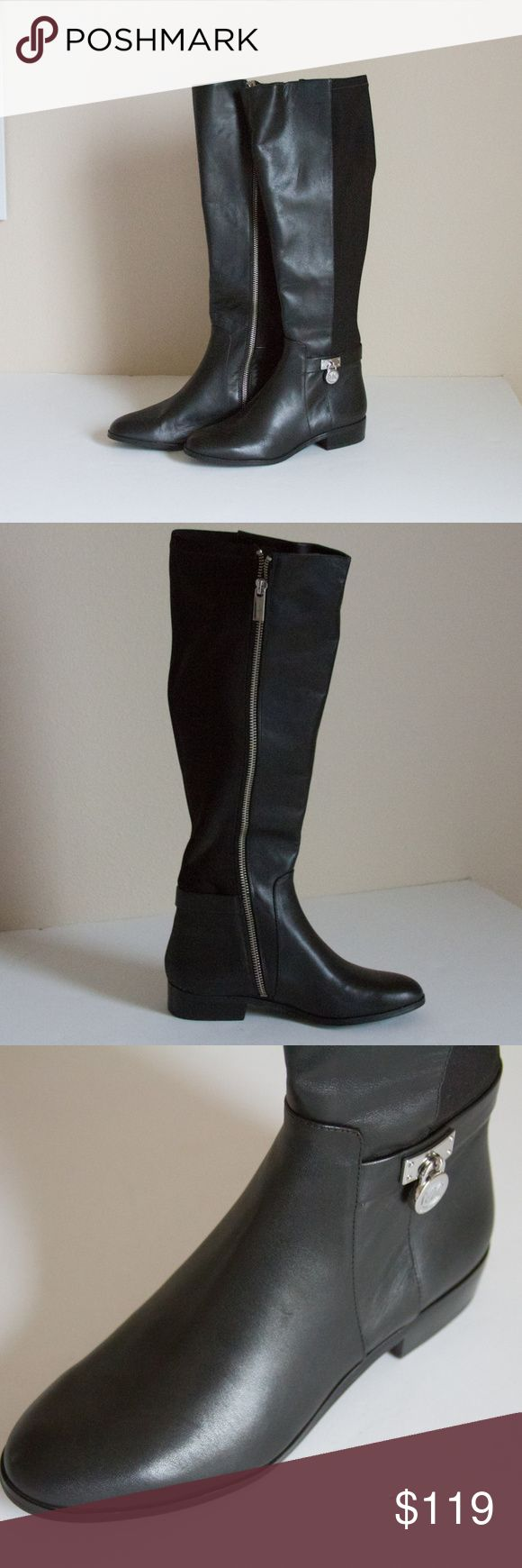 """Michael Kors Leather & Textile Riding Boots PW15E Womens Michael by Michael Kors black knee high leather boots  Style Name: PW15E  Color: Black  Size: 5M  Width: M  Material: Leather and textile upper rubber outsoles  Boot Length: 17""""  Compare at $240 Michael Kors Shoes Combat & Moto Boots"""